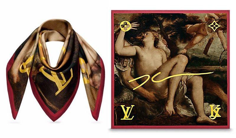 Masters LV x Koons Mars Venus Cupid By Titian Silk Square