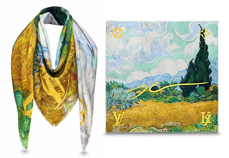 Masters LV x Koons Van Gogh Wheat Field With Cypresses Monogram Shawl