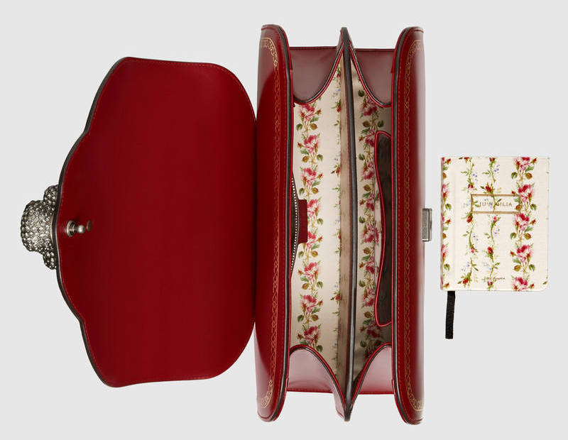Gucci Frame Print Leather Top Bamboo Handle Bag