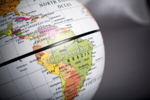Map world globe focused in South American countries