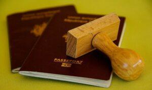 Passport being stamped with Panama Friendly Nations Visa.