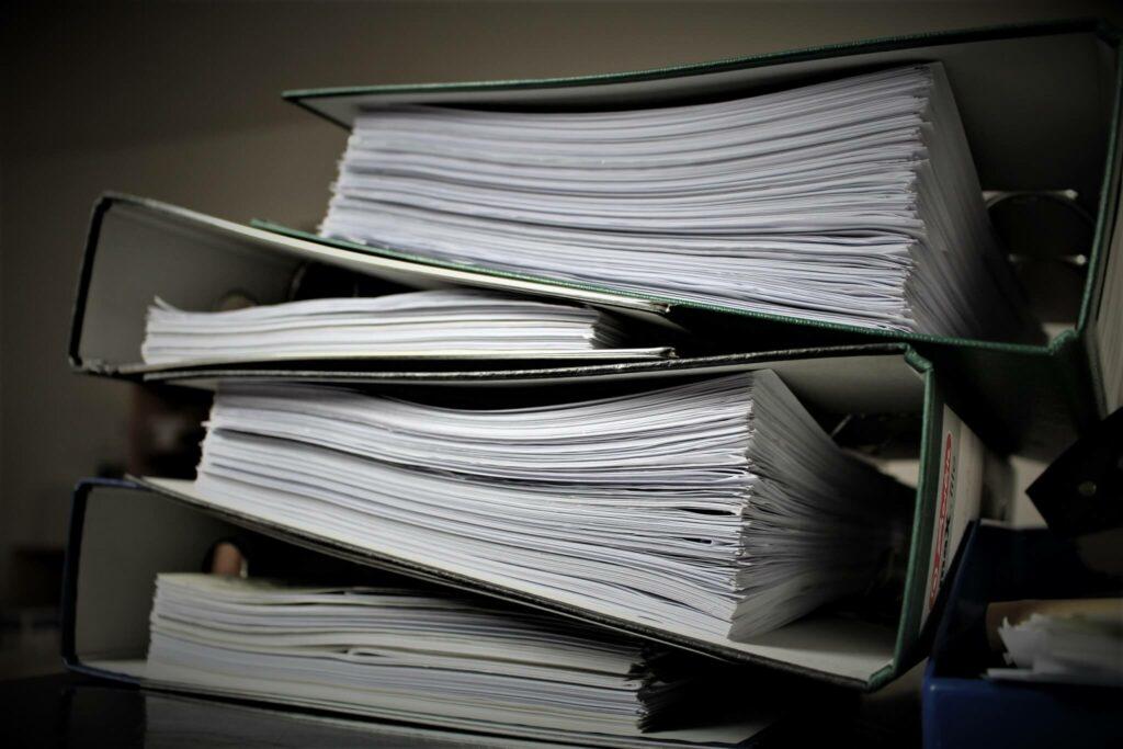 Paperwork in binders