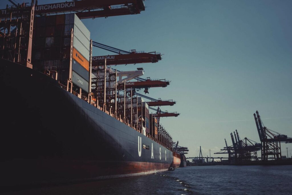 Commercial ship with containers.