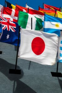 Australian, Latin American and Asian flags