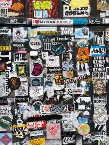 stickers of brands on a wall
