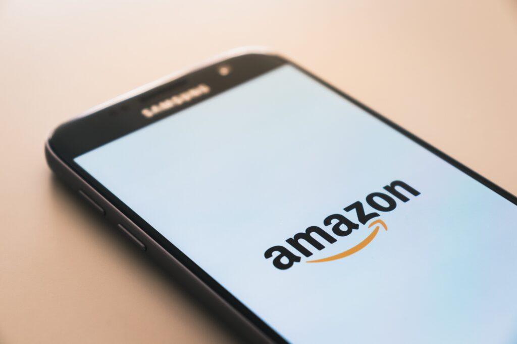 Phone showing Amazon logo