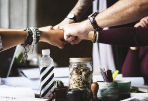 Startup team hands