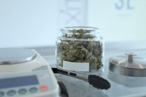 Jar of cannabis plant components