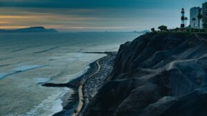 Lima coast with the Pacific Ocean