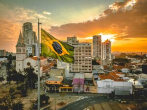 Brazilian  flag waving in the city