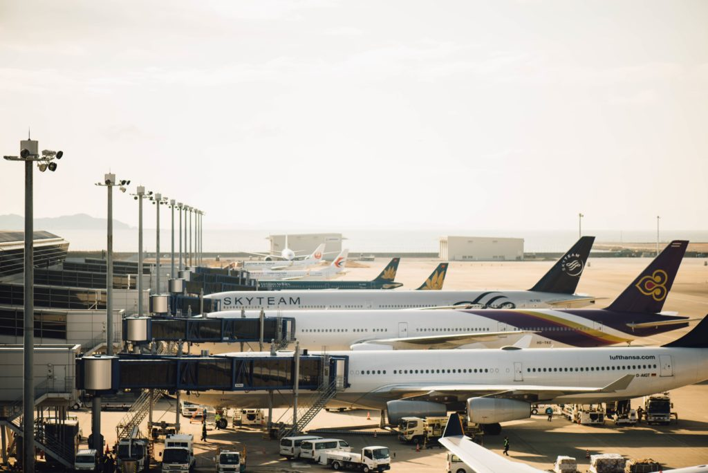 airplanes lined