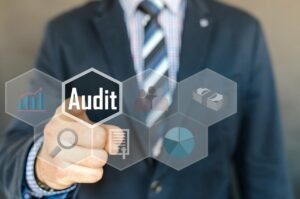 Businessperson conducting audit of corporate compliance of a company