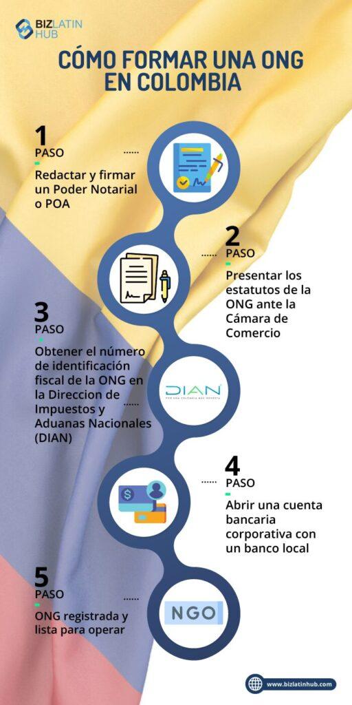 infografia con pasos para formar ONG en Colombia