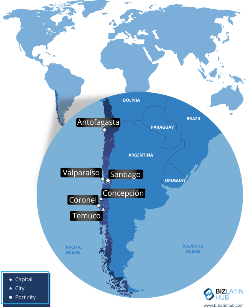 A map of the country with free trade agreements in Chile