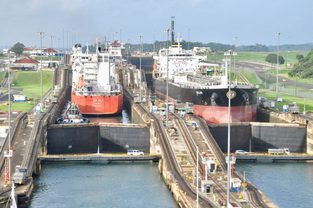 Tow Ships working their way through the Panama Canal
