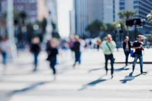 People walking in the city street