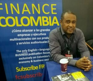 Loren Moss Finance Colombia stall promoting commerce in Colombia at Corférias, Bogotá