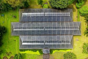 Bird's eye view of a solar panel roof