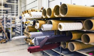 Rolls of fabric in a textile factory in Guatemala.