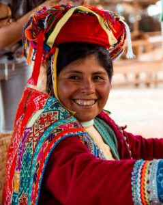 A woman in traditional dress in Peru.