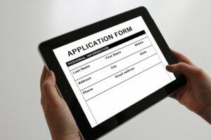 Application form displayed on tablet