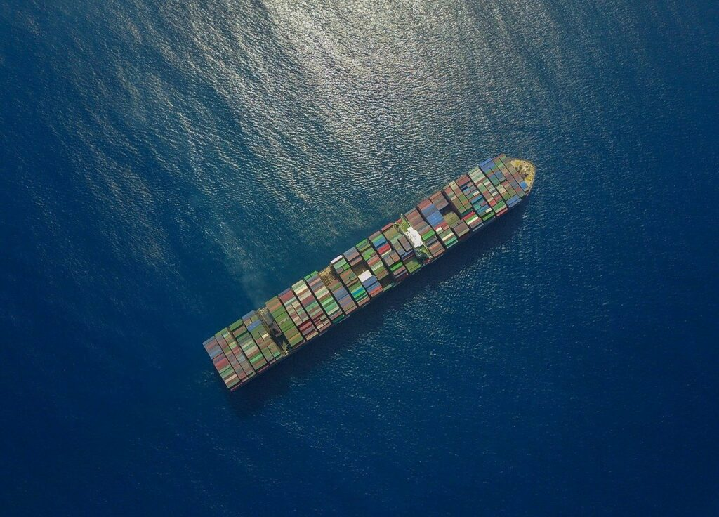 A droneshot of a containership