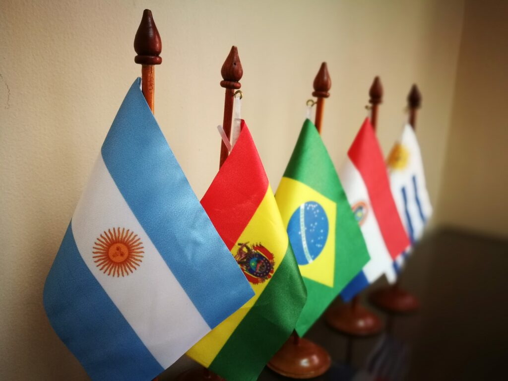 Flags of MERCOSUR countries including business capitals Argentina and Paraguay