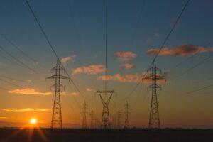 Power lines in a field.