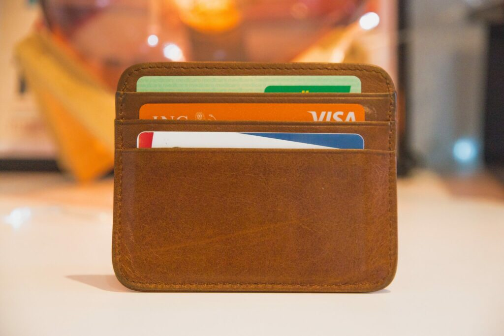 Wallet showing visa and other credit cards