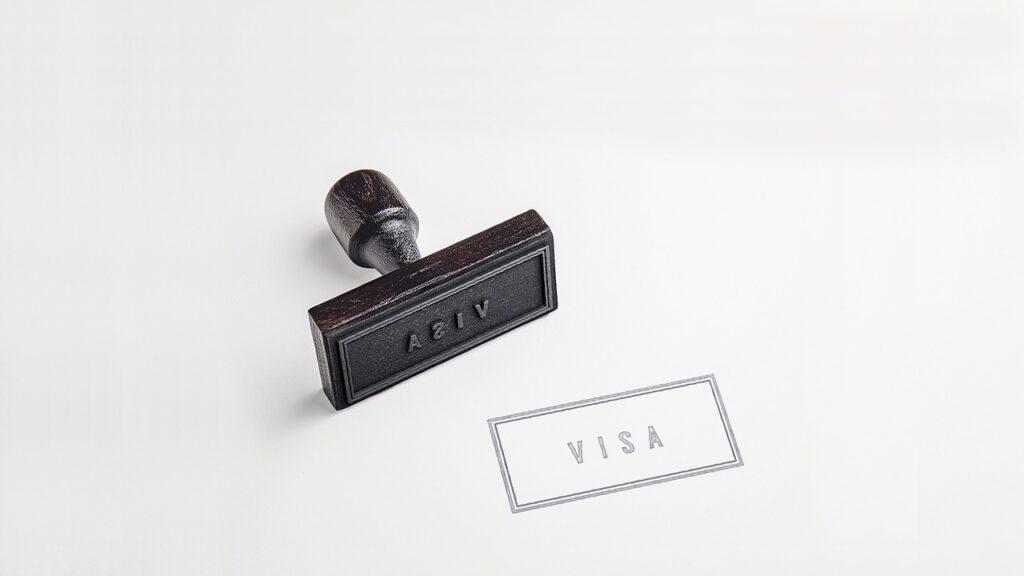 Visa stamp on paper