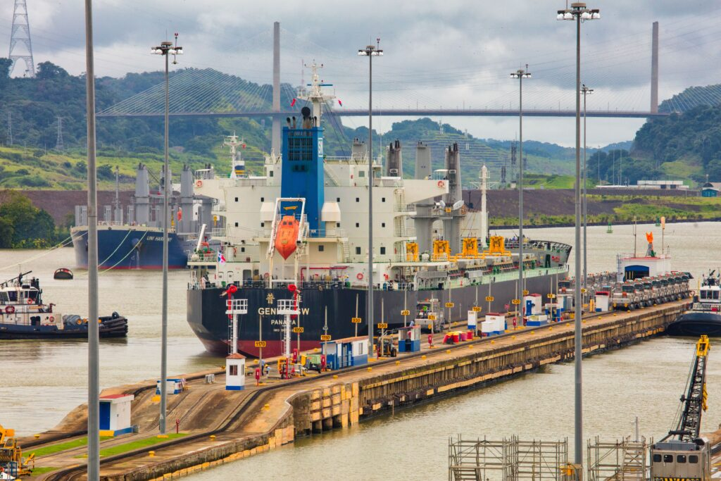 Panama Canal and a cargo ship.