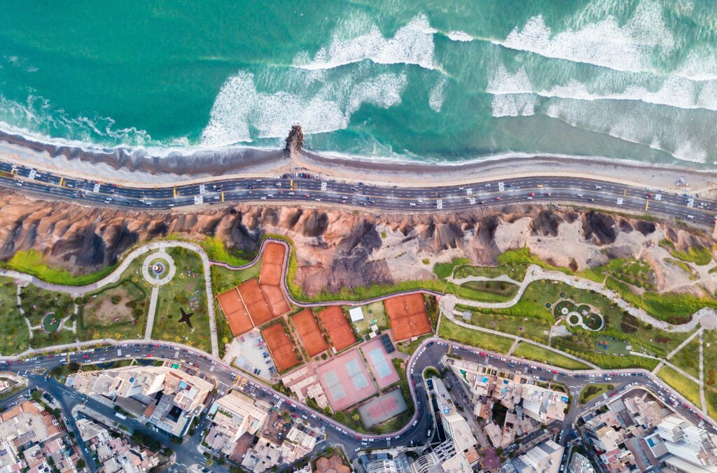 An aerial view of Lima, where many legal firms in Peru are based