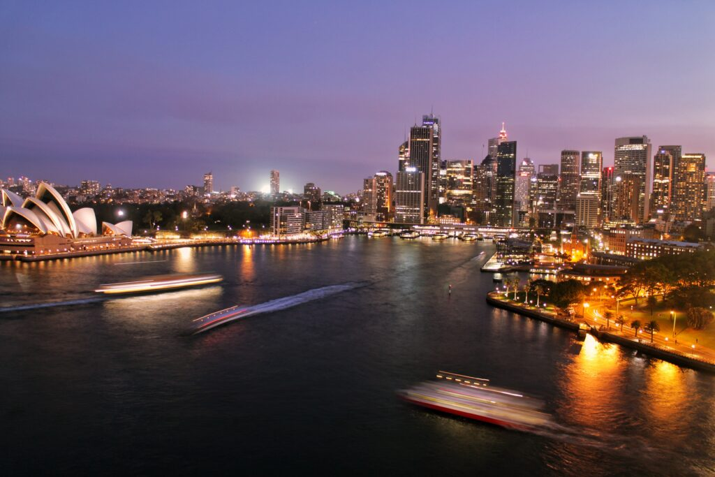 Aerial view of Sydney, representing a city where most investors considering starting a business in Australia go.