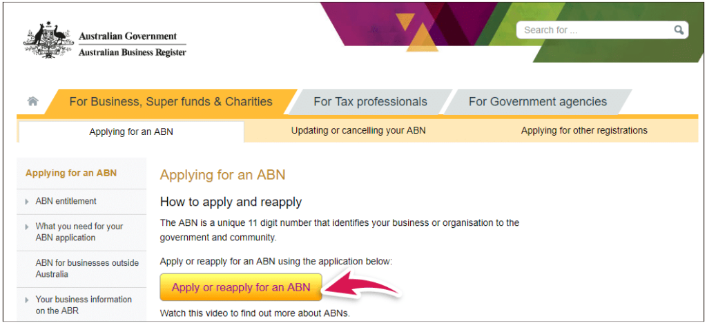 A screenshot of the website where an ABN is applied for, which is a key step in starting a business in Australia