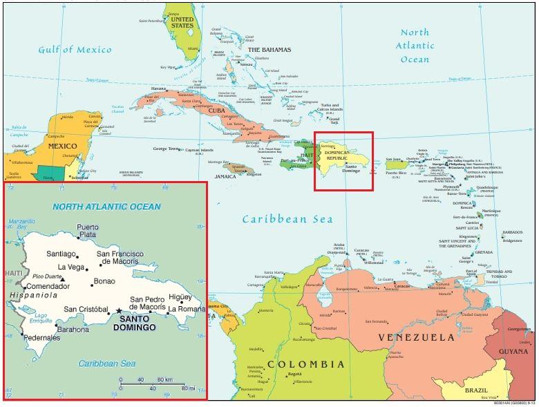 Un mapa que muestra dónde se encuentra la República Dominicana dentro del Caribe