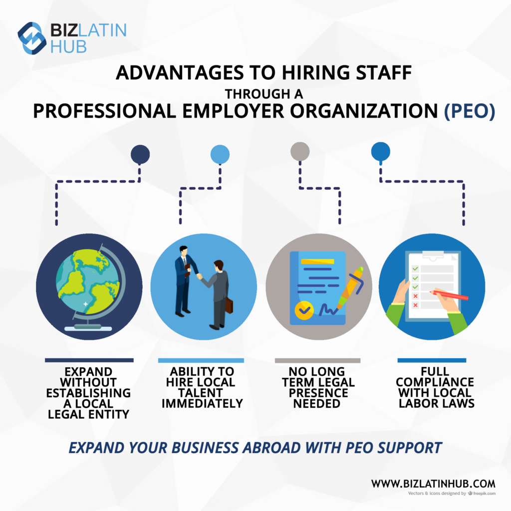 Advantages of hiring staff through a professional employer of record (PEO) and benefits of choosing Payroll Outsourcing in Peru.