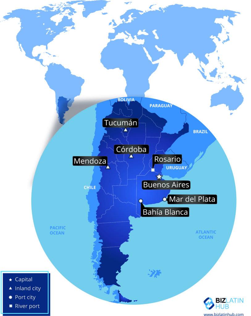 Mapa de Argentina y sus principales ciudades.