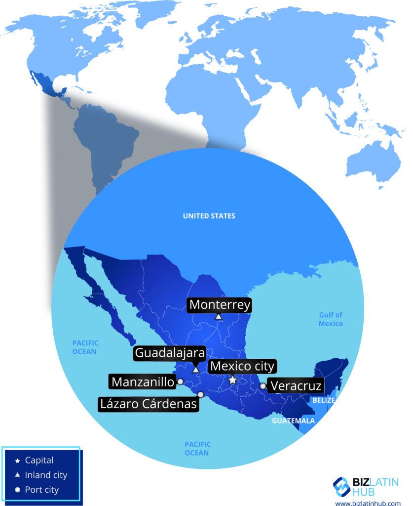 Mapa de la ubicación de México en América del Norte y sus principales ciudades