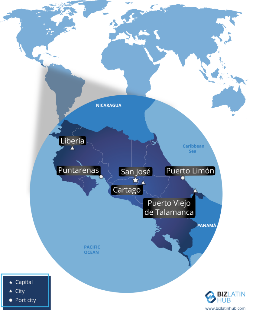 Map representing Costa Rica and its principal cities. Key information for anyone seeking to register a company in Costa Rica