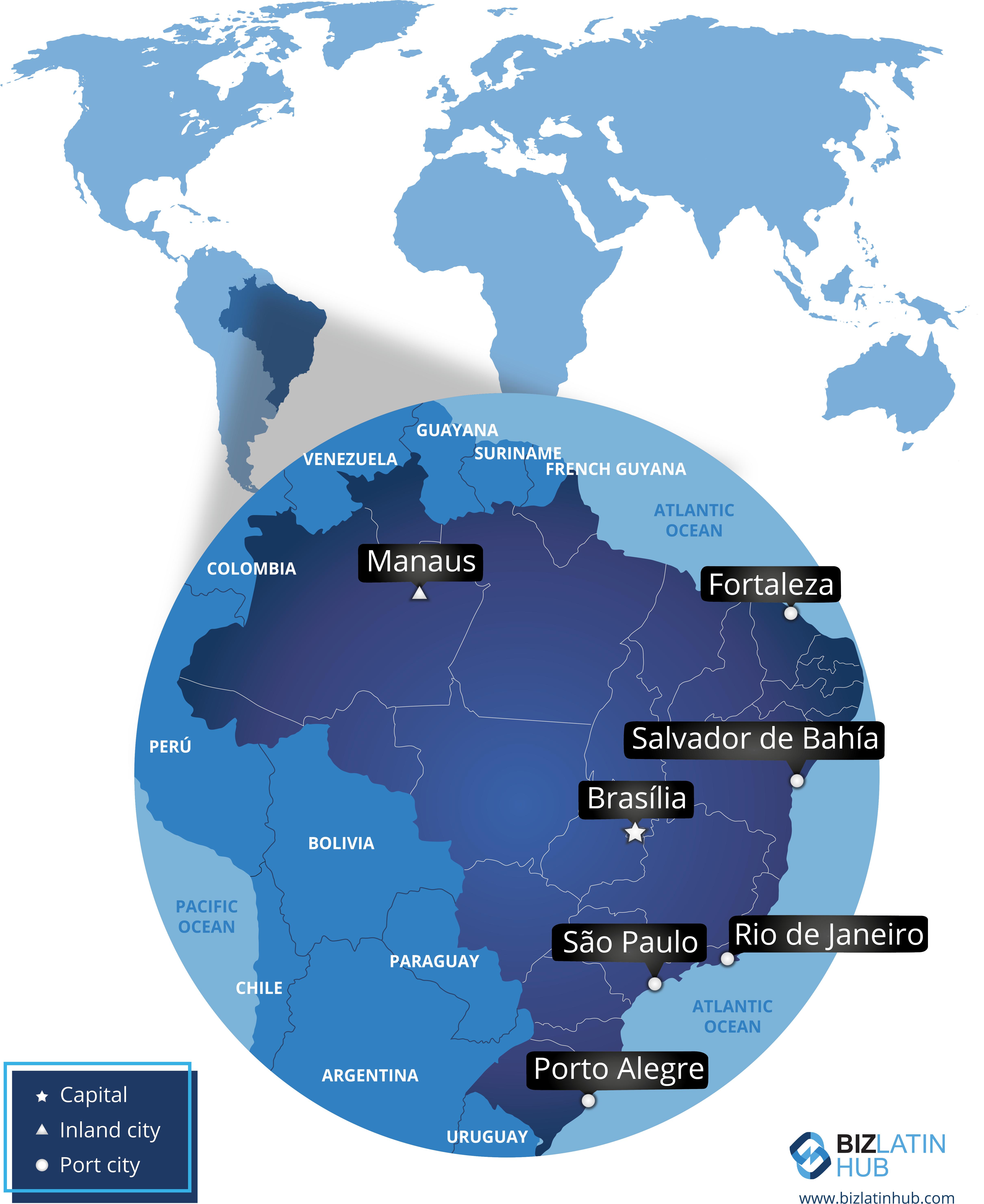 Mapa que ubica a Brasil en el mundo y que representa sus principales ciudades