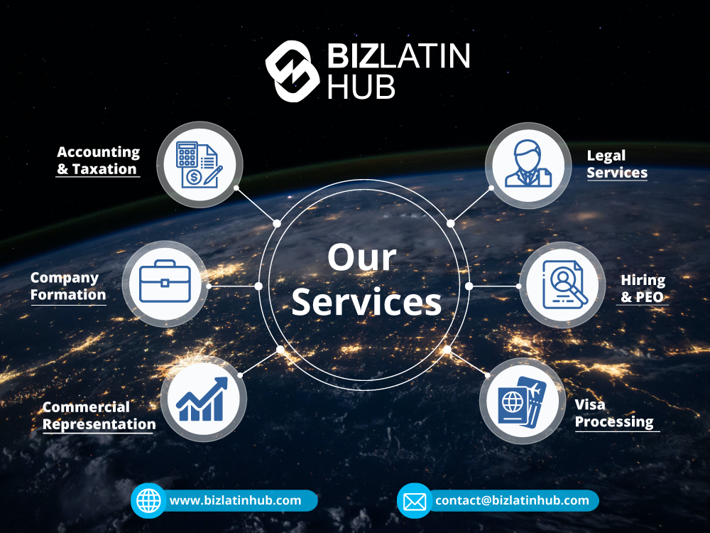 An infographic showing the key Biz Latin Hub service areas, including Accounting & Taxation, Legal Services, Hiring & PEO, Visa Processing, Commercial Representation, and Copany Formation