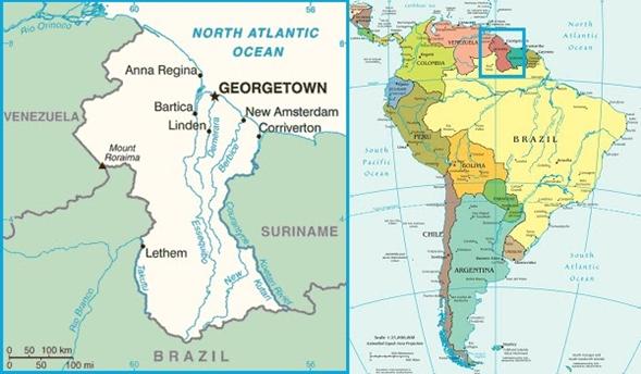 Mapa de Guyana y su ubicación dentro de América del Sur