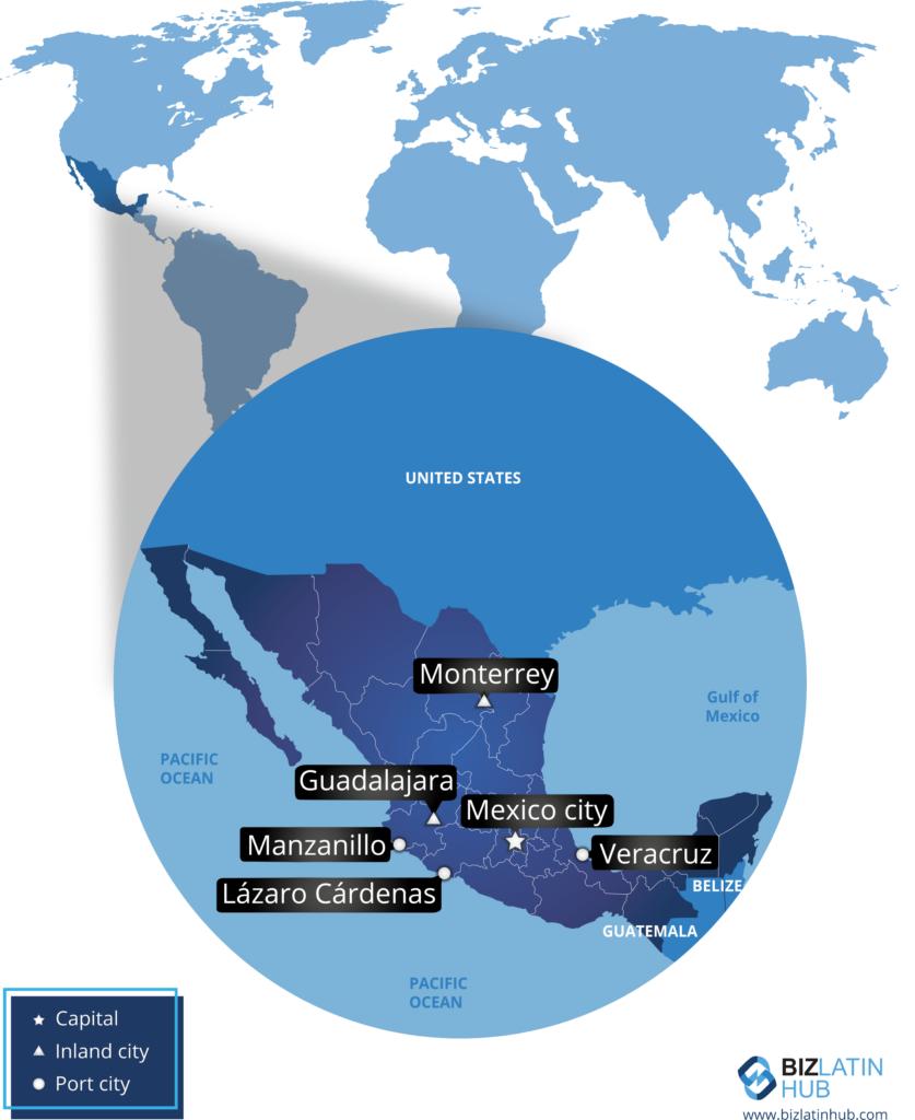 Ubicación geográfica de México y algunas de sus principales ciudades.
