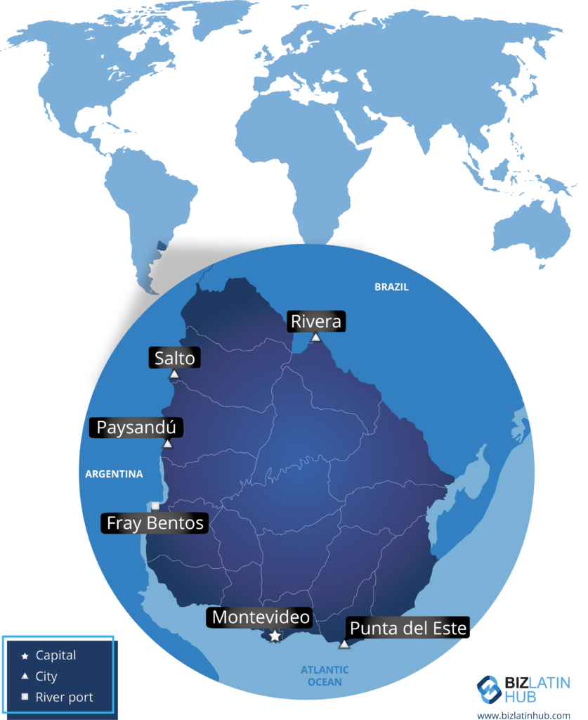 Map of Uruguay and its location in the world. Useful information for anyone willing to set up a business in Uruguay