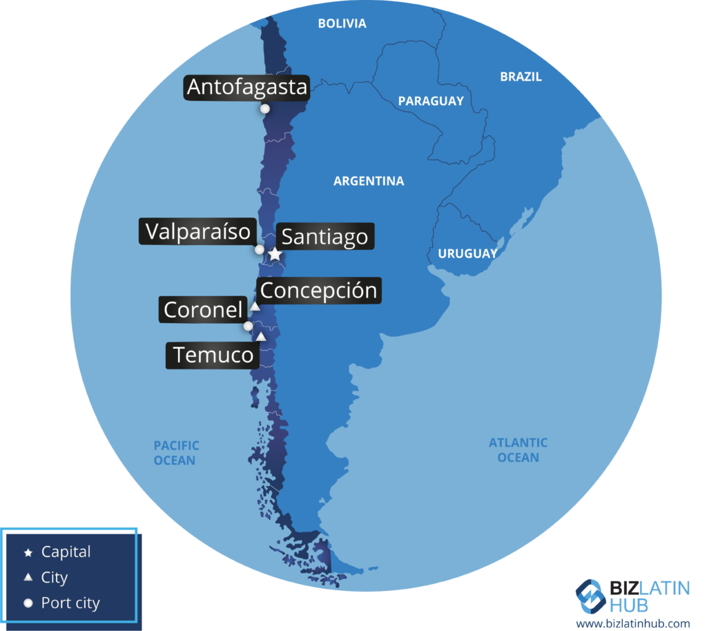 A map of Chile and some of its major cities, where you may be interested in starting a business.