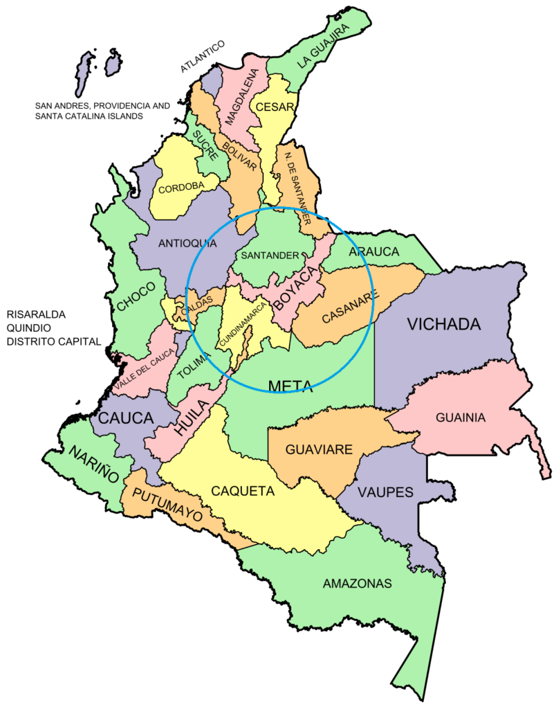 A map highlighting the departments of Boyacá and Cundinamarca, which produce Colombia emeralds