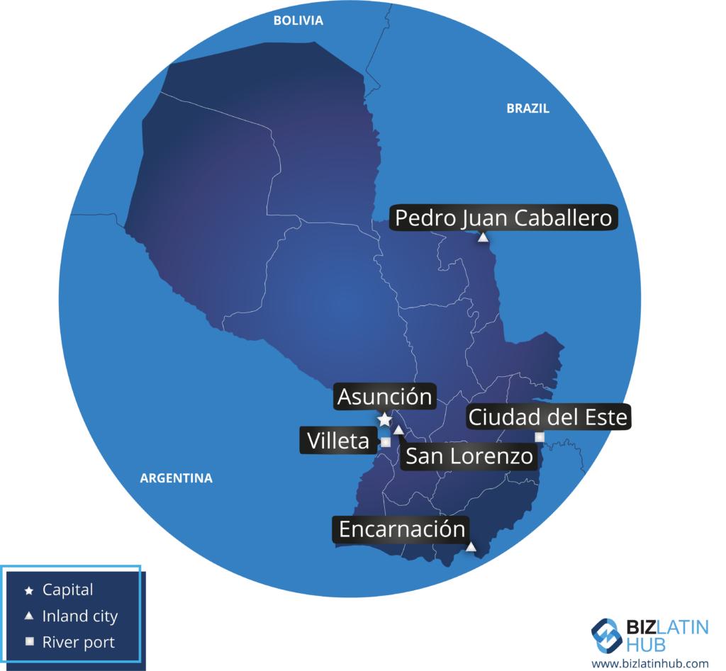Un mapa de Paraguay y algunas de sus principales ciudades.  Deberá buscar un buen abogado para que le ayude a hacer negocios en el país.
