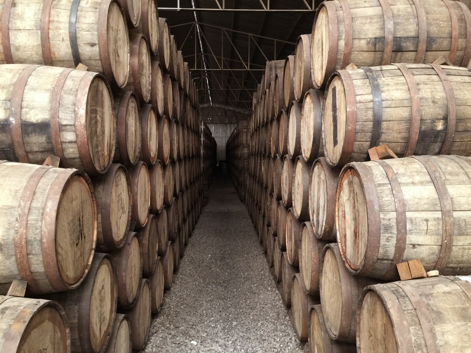 Tequila ageing in barrels in Mexico, where it is a one of the country's key exports
