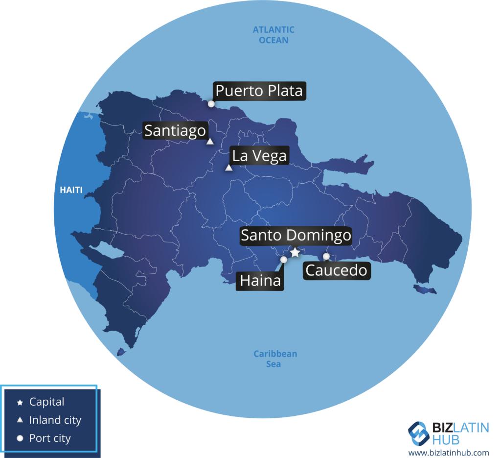 वित्तीय नियामक अनुपालन पर एक लेख के साथ डोमिनिकन गणराज्य का नक्शा