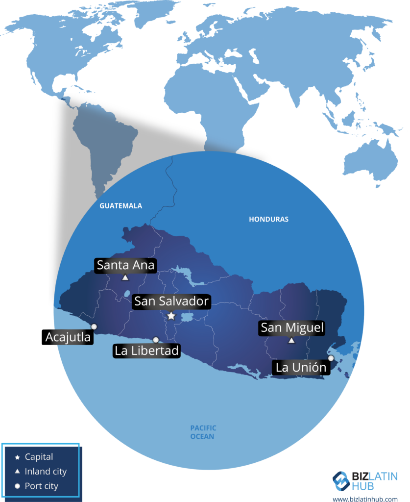 अल सल्वाडोर और उसके कुछ मुख्य शहरों का नक्शा।  देश ने हाल ही में क्रिप्टोक्यूरेंसी बिटकॉइन को कानूनी निविदा के रूप में अपनाया है।